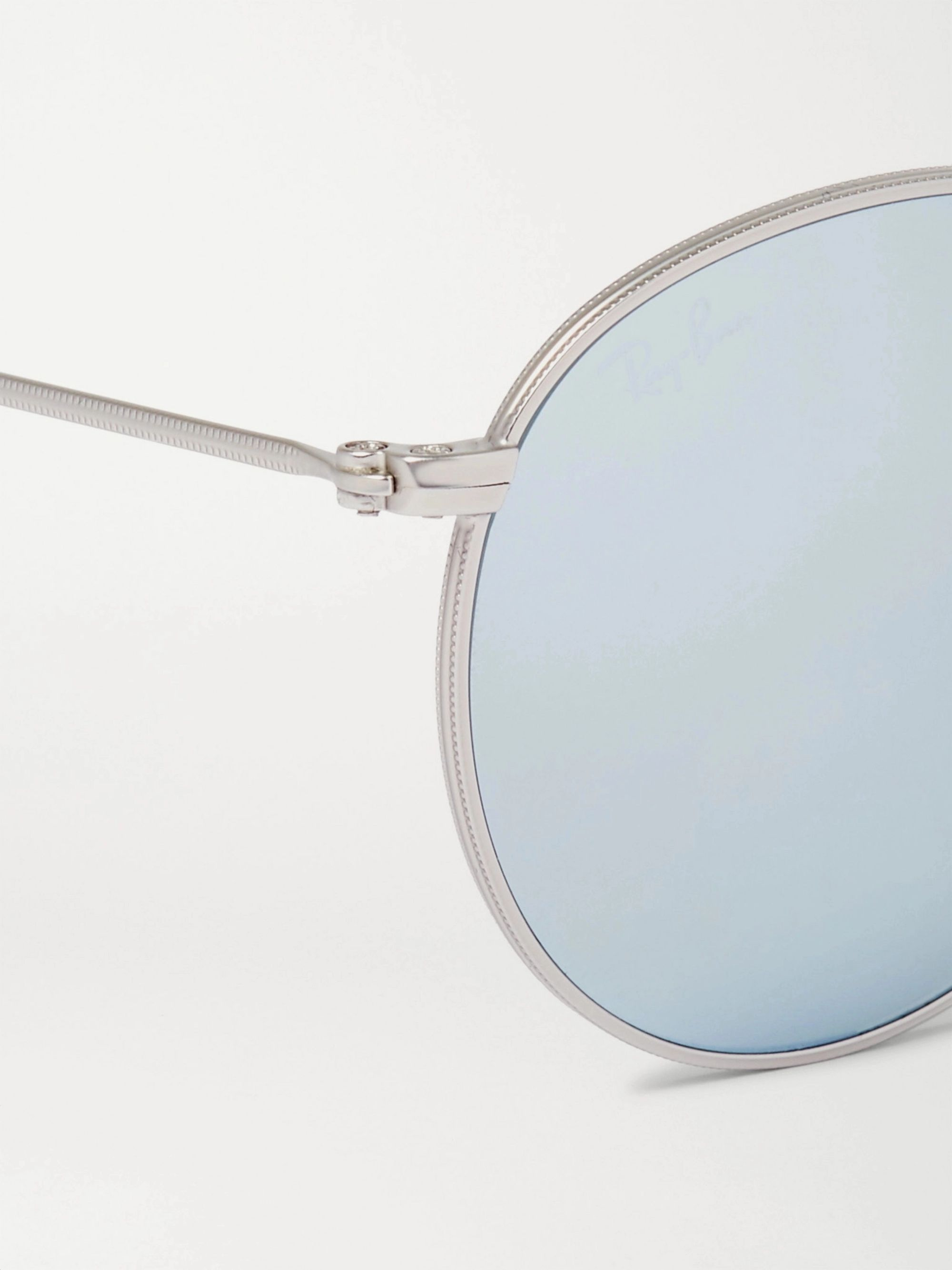 Ray-Ban Round-Frame Silver-Tone Mirrored Sunglasses