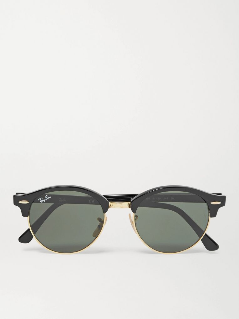 Ray-Ban Clubmaster Round-Frame Acetate and Gold-Tone Polarised Sunglasses