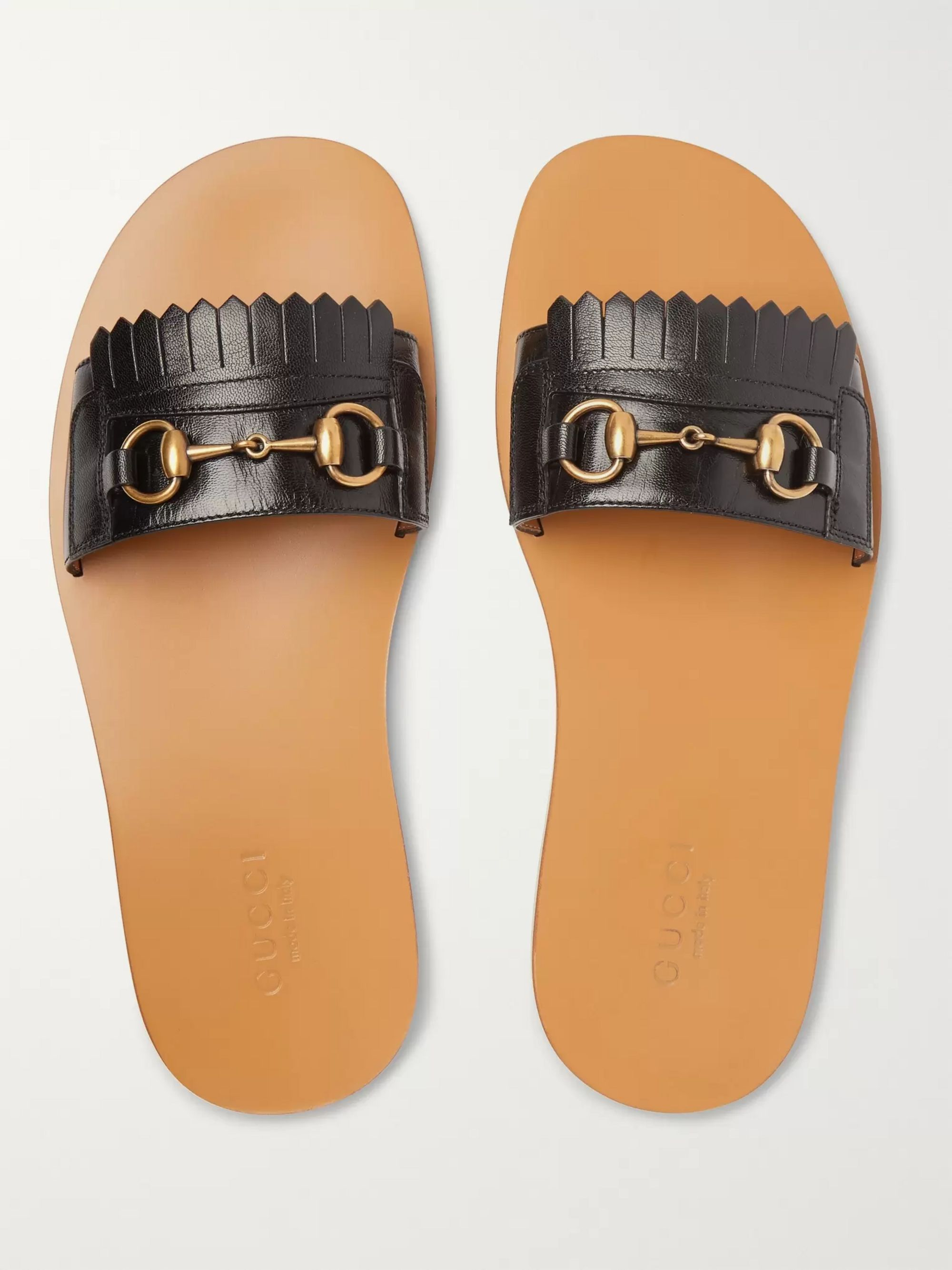 Gucci Horsebit Fringed Leather Sandals