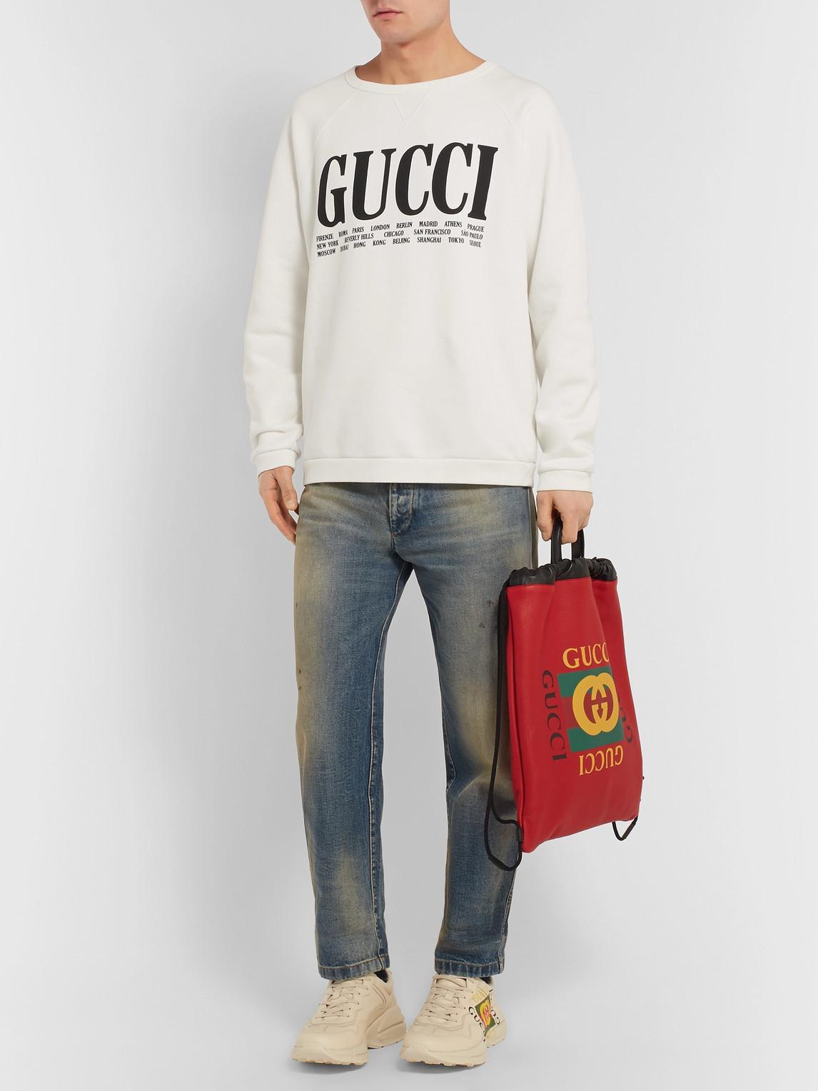 Gucci T-shirts PRINTED COTTON-JERSEY SWEATSHIRT