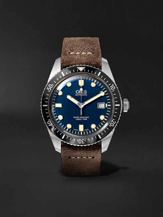Oris Divers Heritage Sixty-Five 42mm Stainless Steel and Burnished-Leather Watch, Ref. No. 01 733 7720 4055-07 5 21 02