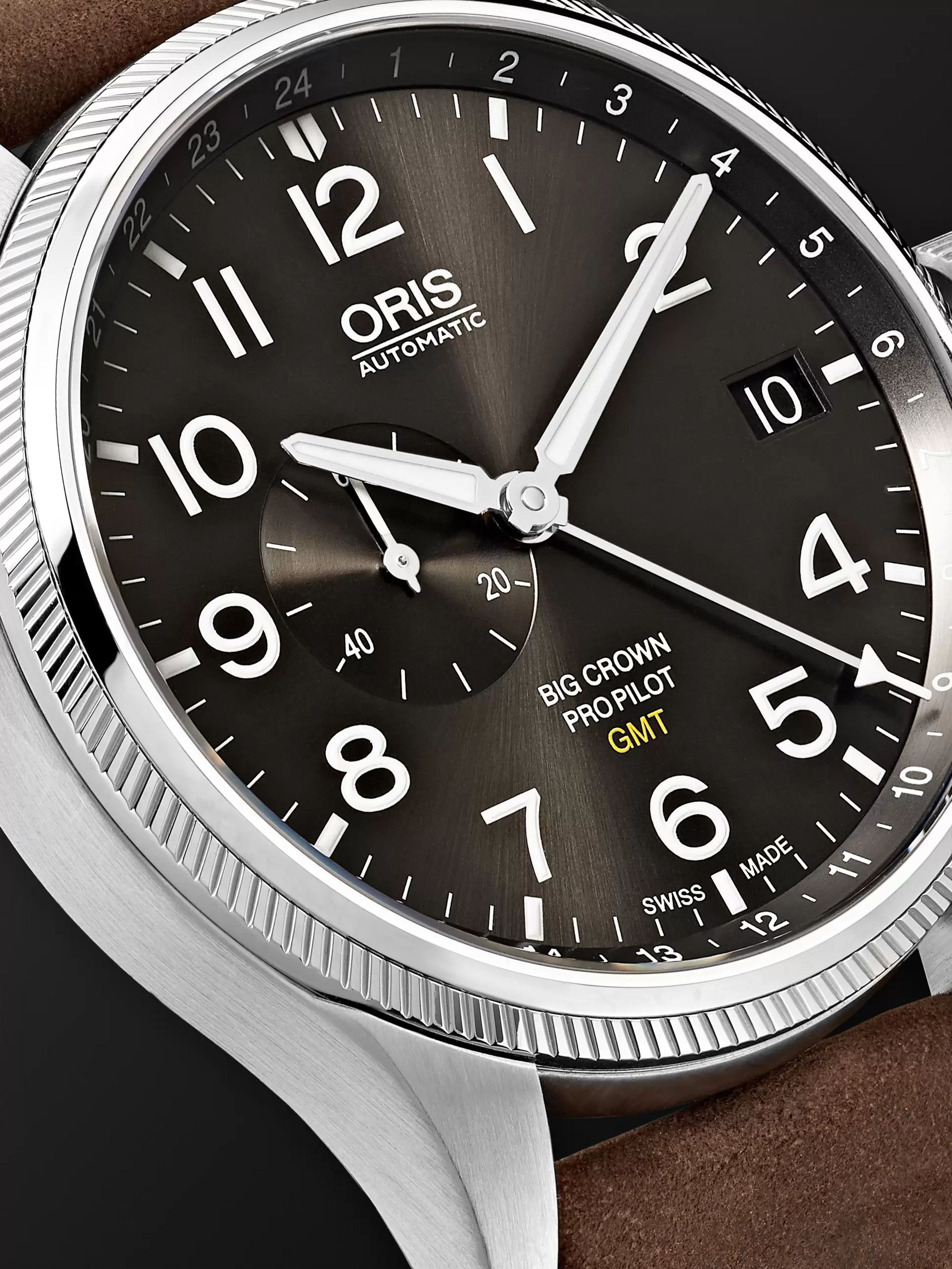ORIS Big Crown ProPilot GMT Automatic 45mm Stainless Steel and Suede Watch, Ref. No. 01 748 7710 4063-07 5 22 05FC