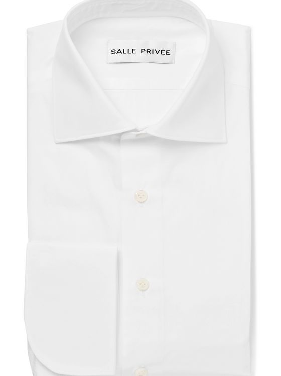 SALLE PRIVÉE White Finn Cutaway-Collar Double-Cuff Cotton-Poplin Shirt
