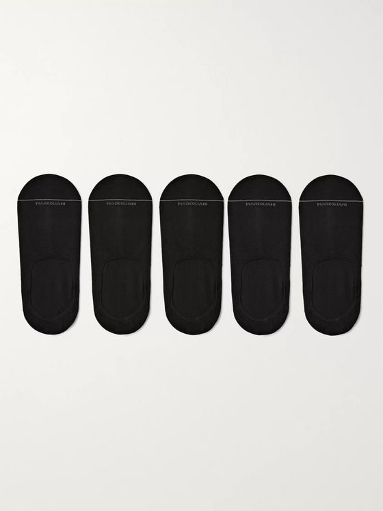 Marcoliani Five-Pack Invisible Touch Pima Cotton-Blend No-Show Socks