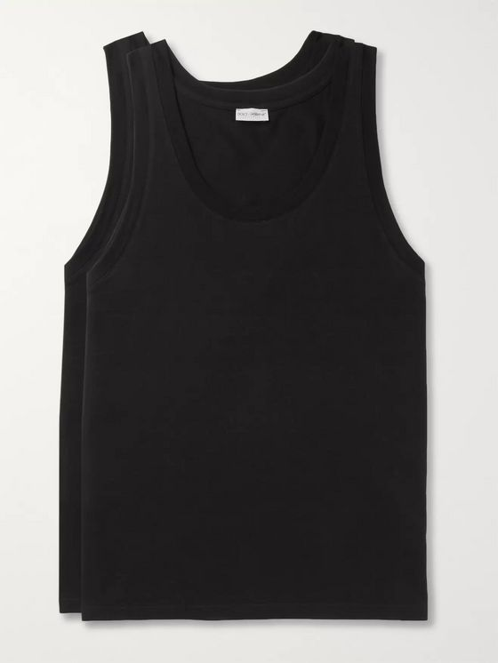 Dolce & Gabbana Day By Day Two-Pack Stretch-Cotton Jersey Tank Tops