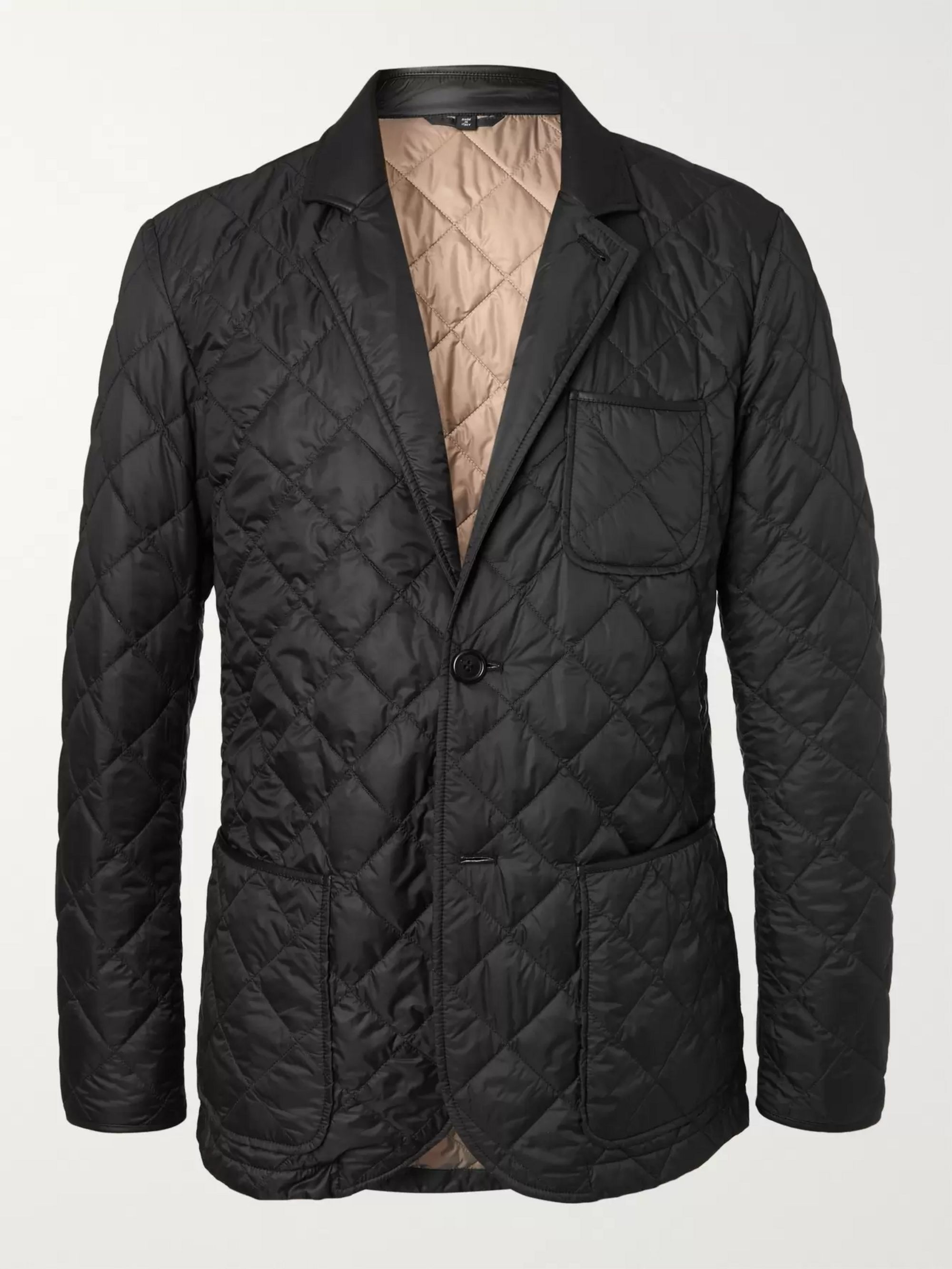 Dunhill Leather-Trimmed Quilted Shell Blazer