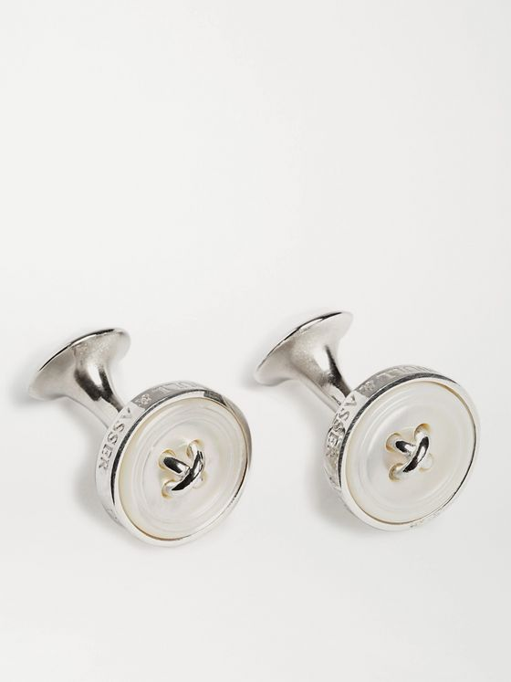 Turnbull & Asser Button Silver Mother-of-Pearl Cufflinks
