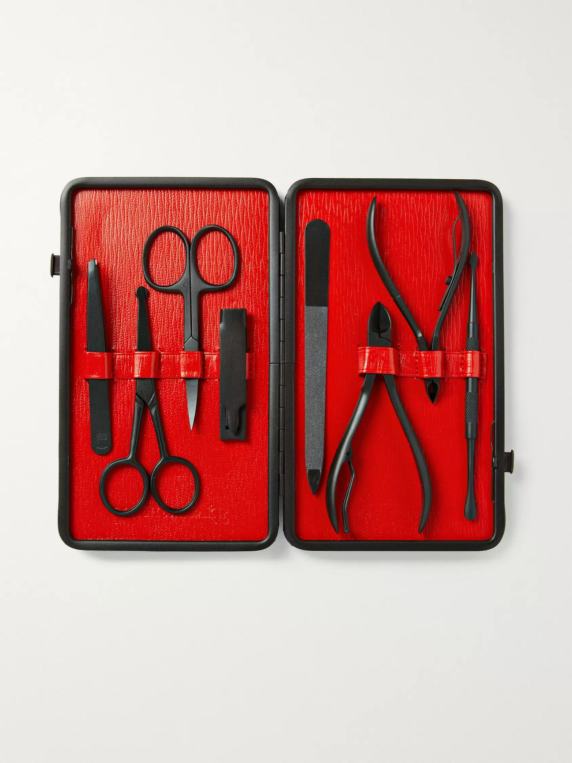 Czech & Speake Leather-bound Manicure Set In Red