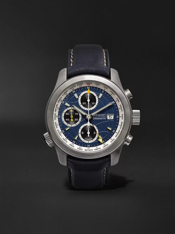 BREMONT ALT1-WT/BL World Timer Automatic Chronograph 43mm Stainless Steel and Leather Watch, Ref. No. ALT1-WT/BL