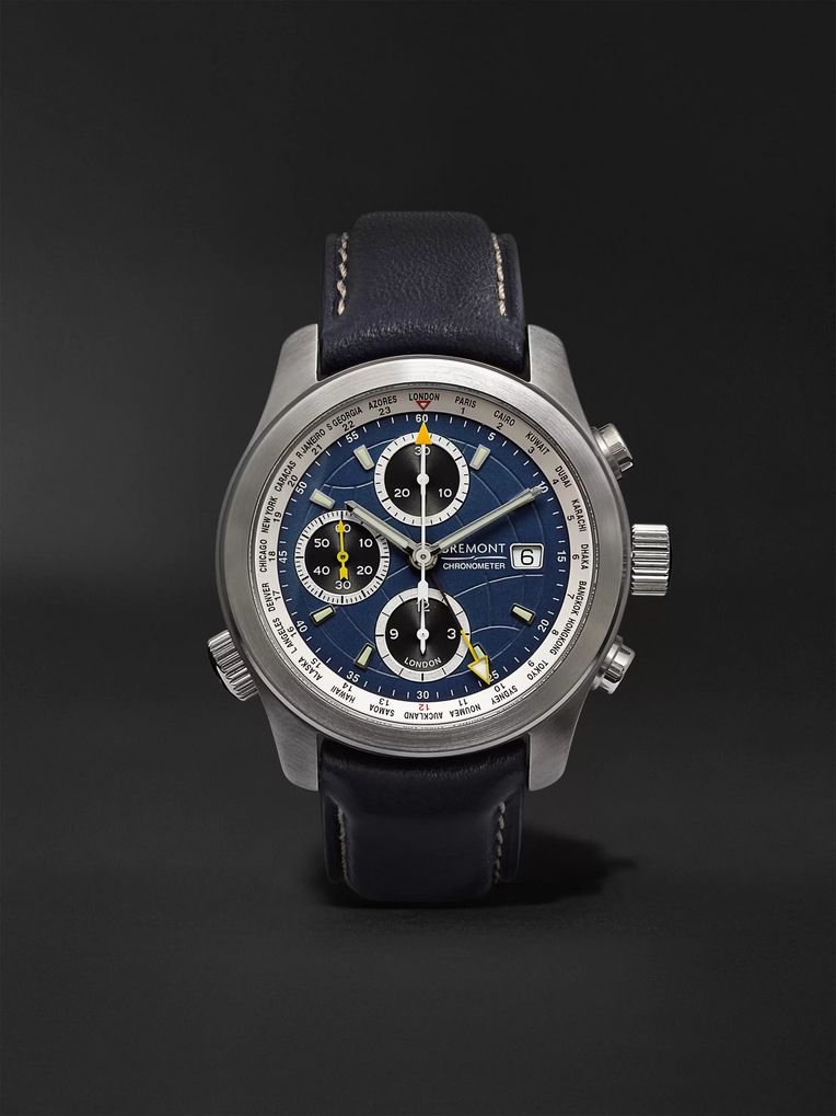 Bremont ALT1-WT/BL World Timer Automatic Chronograph 43mm Stainless Steel and Leather Watch