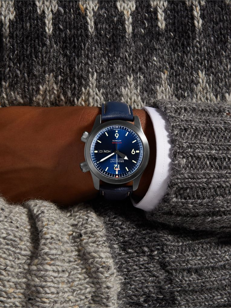 Bremont U2/BL Automatic 45mm Stainless Steel and Leather Watch, Ref. No. U-2 BLUE