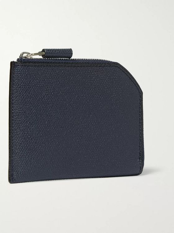 Valextra Zip-Around Pebble-Grain Leather Wallet