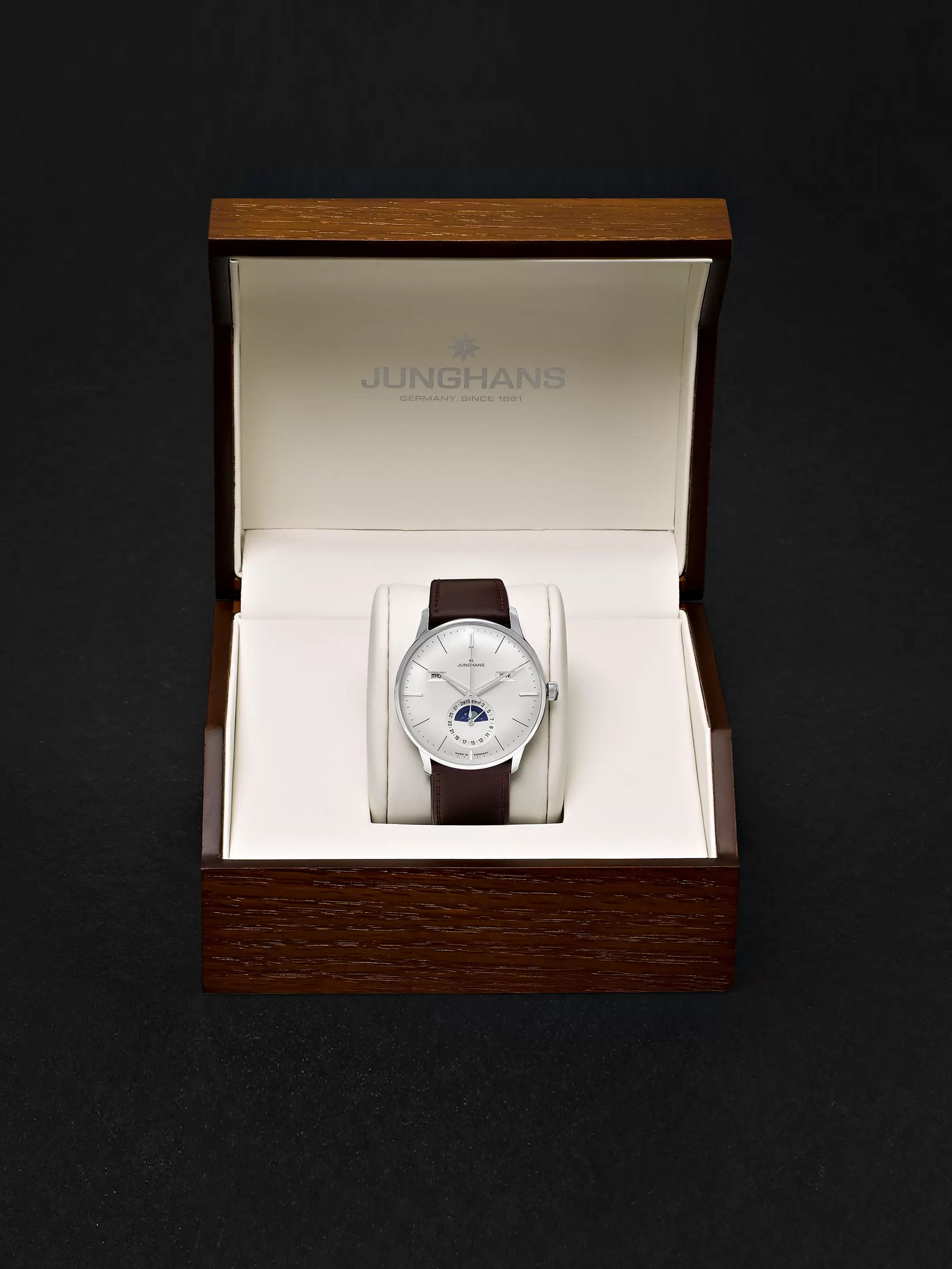 Junghans Meister Kalender Automatic Moon-Phase 40mm Stainless Steel and Leather Watch, Ref. No. 027/4200.01