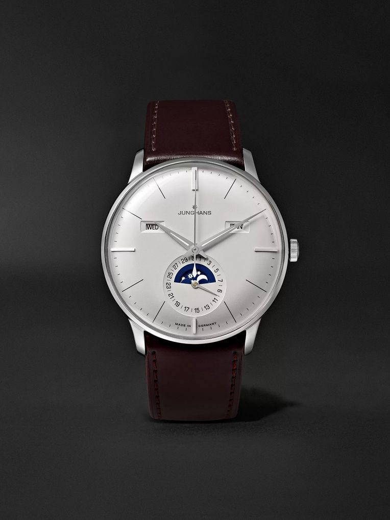 Junghans Meister Kalender 40mm Stainless Steel and Leather Watch, Ref. No. 027/4200.01