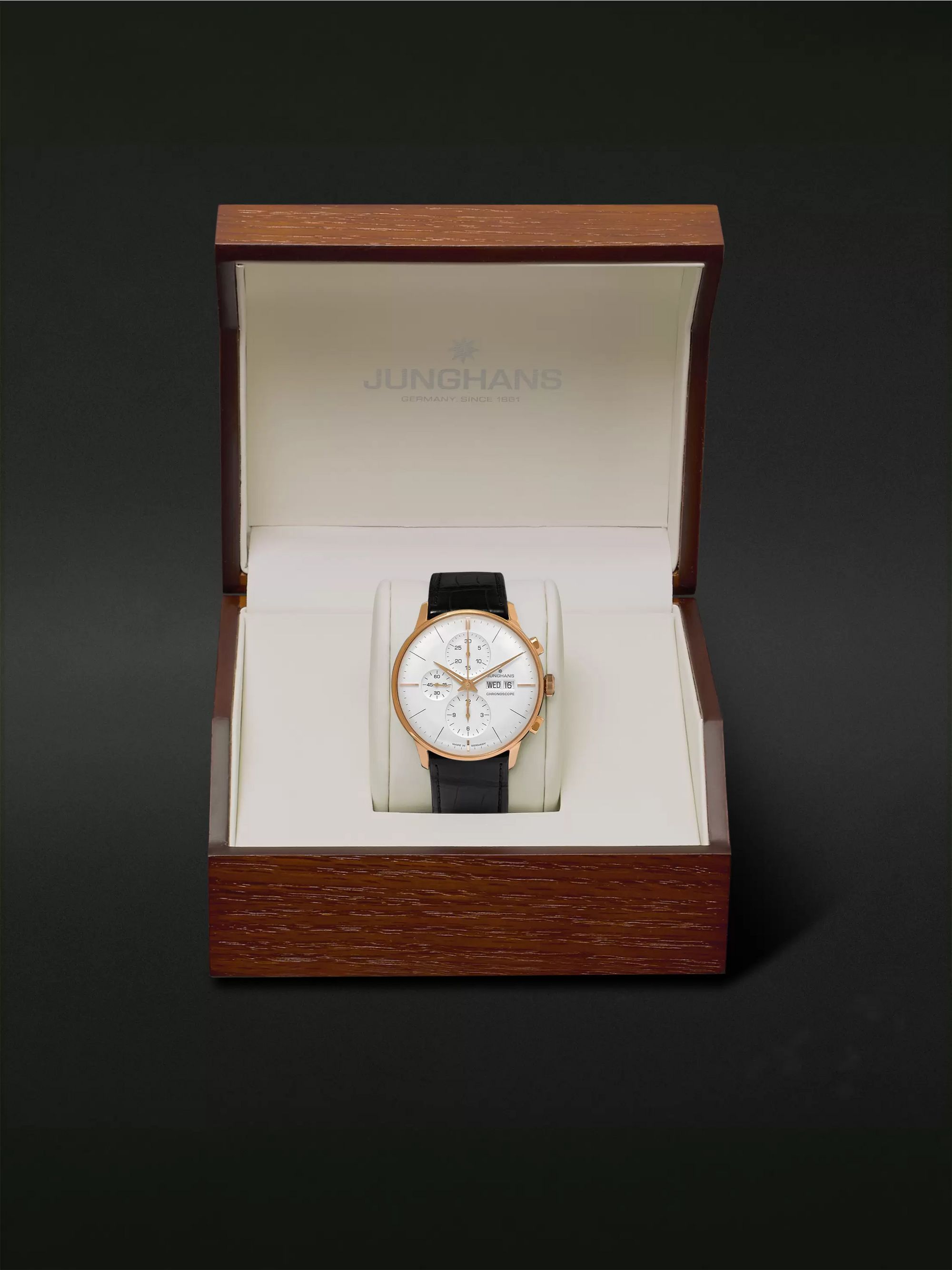 Junghans Meister Automatic Chronoscope 40mm Gold-Tone and Alligator Watch, Ref. No. 027/7323.01