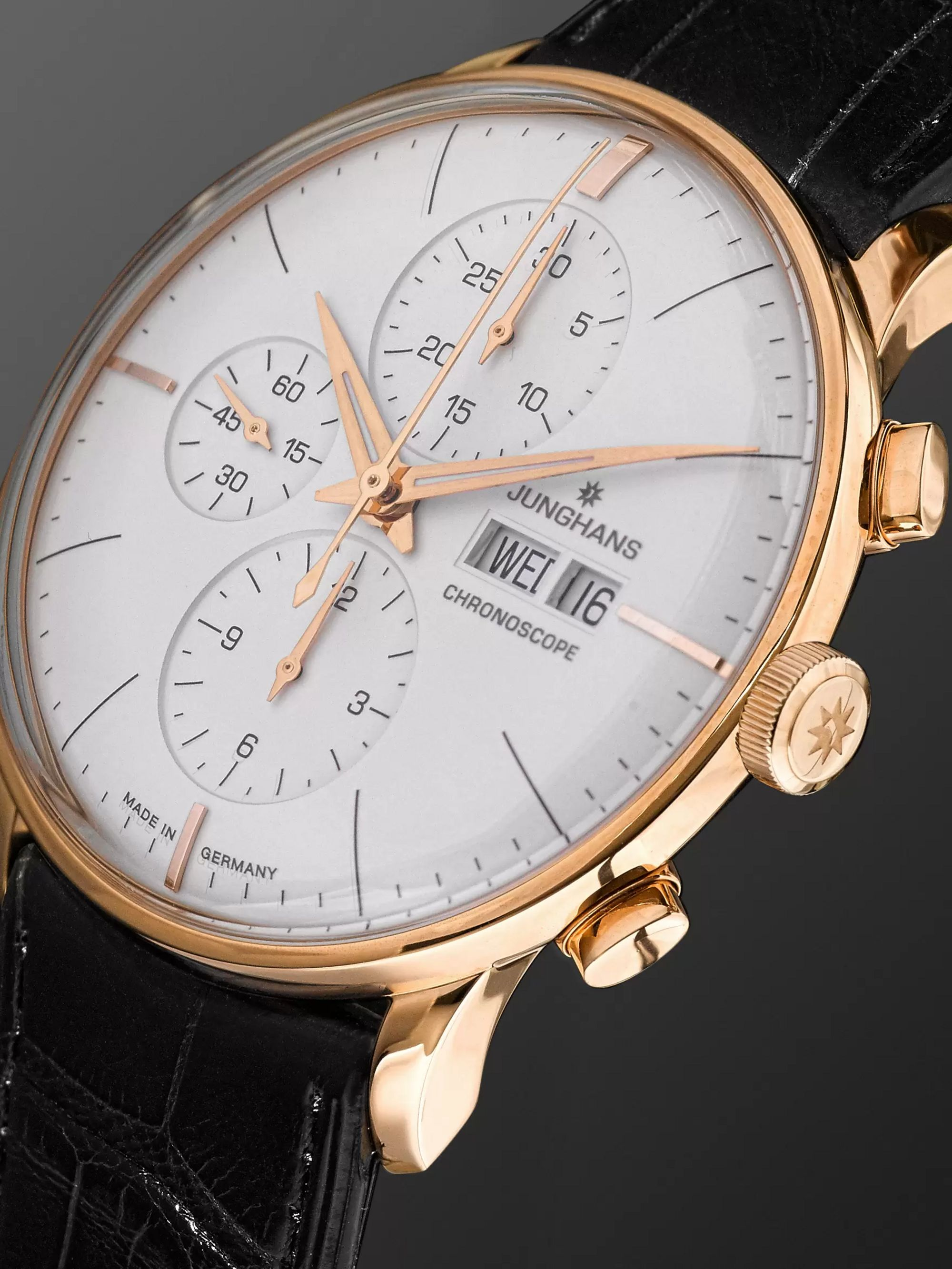 Junghans Meister Chronoscope 40mm Gold-Tone and Alligator Watch, Ref. No. 027/7323.01