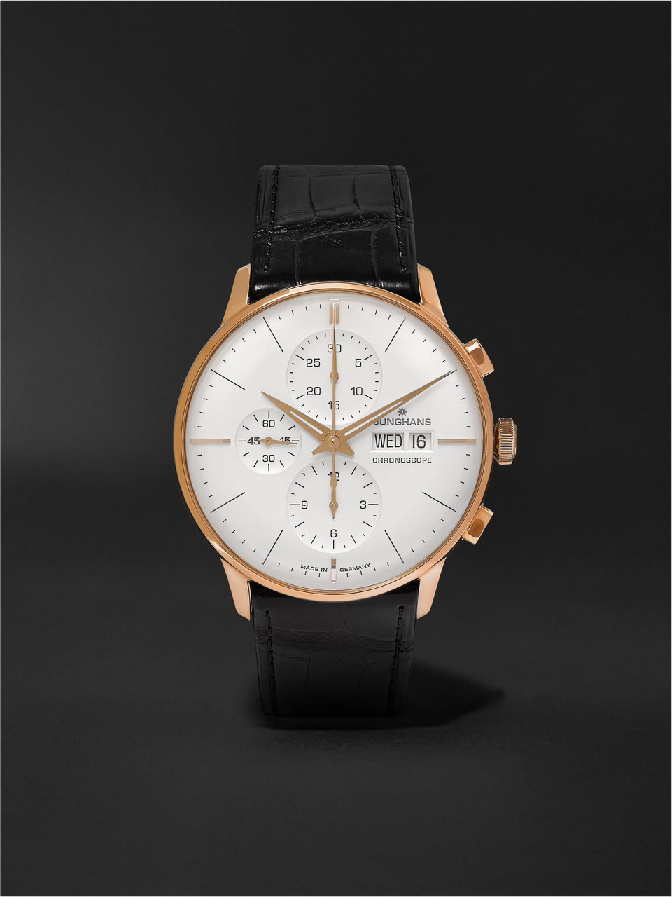 Junghans Meister Chronoscope 40mm Gold-Tone and Alligator Watch