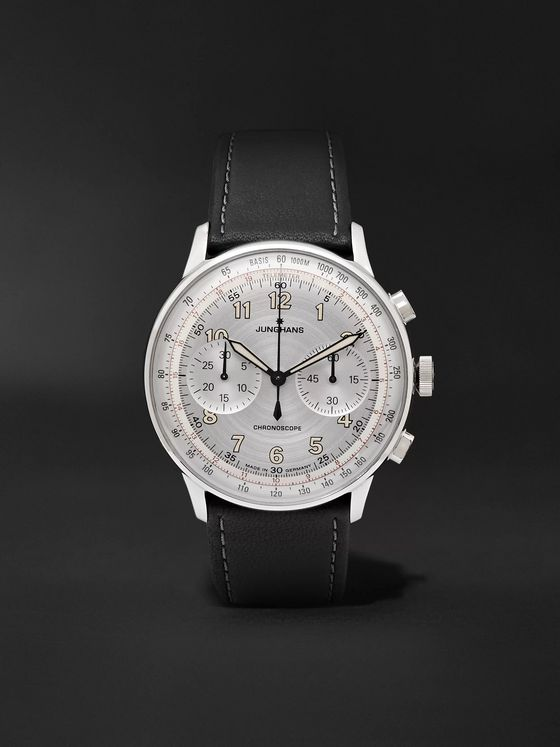 JUNGHANS Meister Telemeter Chronoscope 40mm Stainless Steel and Leather Watch, Ref. No. 027/3380.00