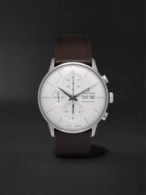 Junghans Meister Chronoscope 40mm Stainless Steel and Leather Watch, Ref. No. 027412001