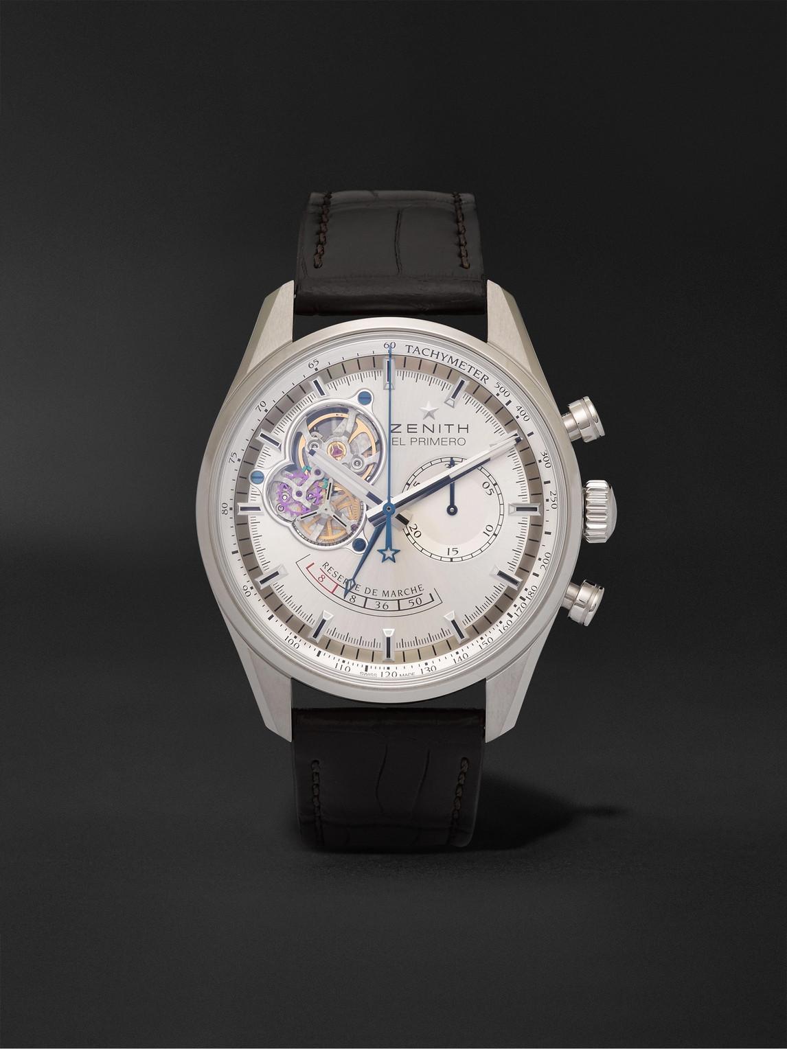 Zenith El Primero Chronomaster 42mm Stainless Steel And Alligator Watch, Ref. No. 03.2080.4021/01.c494 In Silver