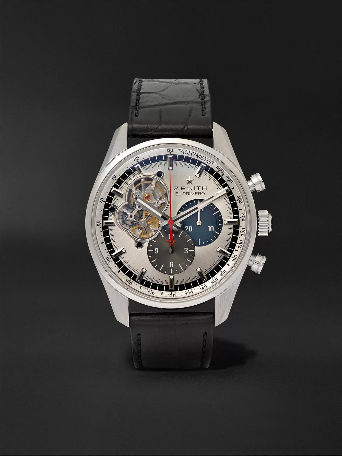 Zenith El Primero Chronomaster 1969 42mm Stainless Steel And Alligator Watch, Ref. No. 03.2040.4061/69.c496 In Silver
