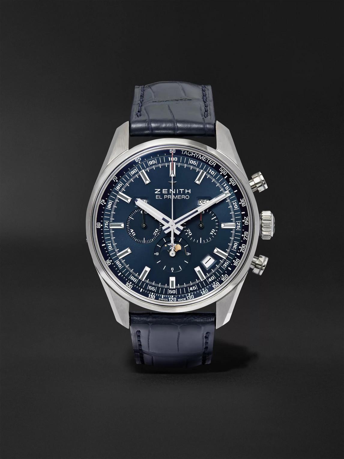 Zenith El Primero 410 42mm Stainless Steel And Alligator Watch, Ref. No. 03.2097.410/51.c700 In Blue