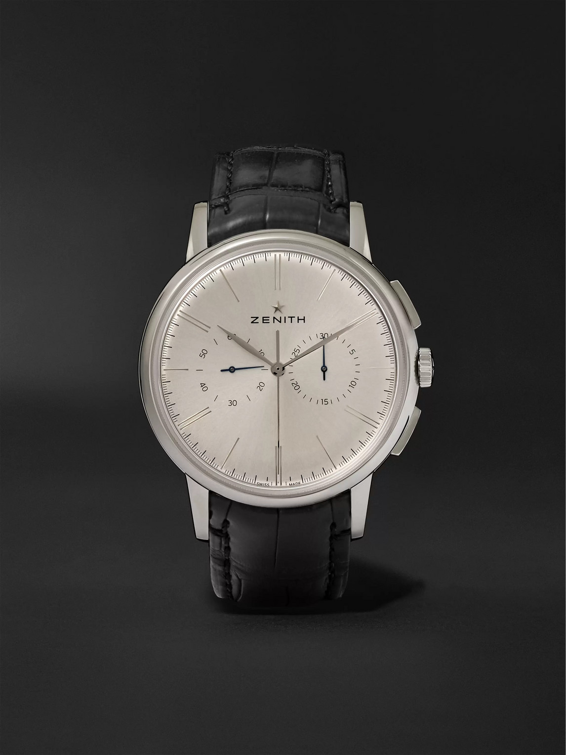 Zenith Elite Chronograph Classic 42mm Stainless Steel And Alligator Watch In Silver
