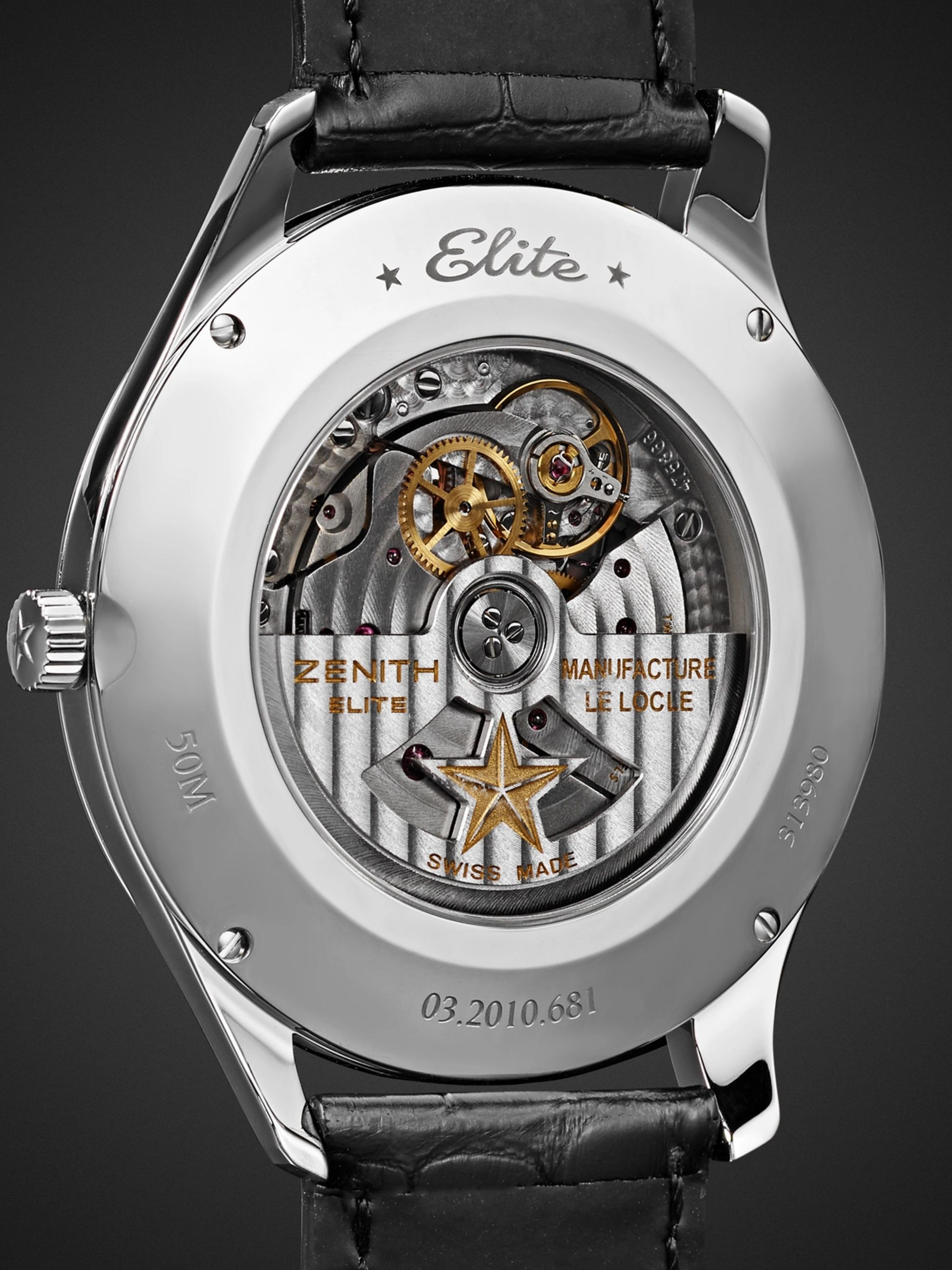 Zenith Elite Ultra-Thin Roman Dial 40mm Stainless Steel and Alligator Watch, Ref. No. 03.2010.681/11.C493