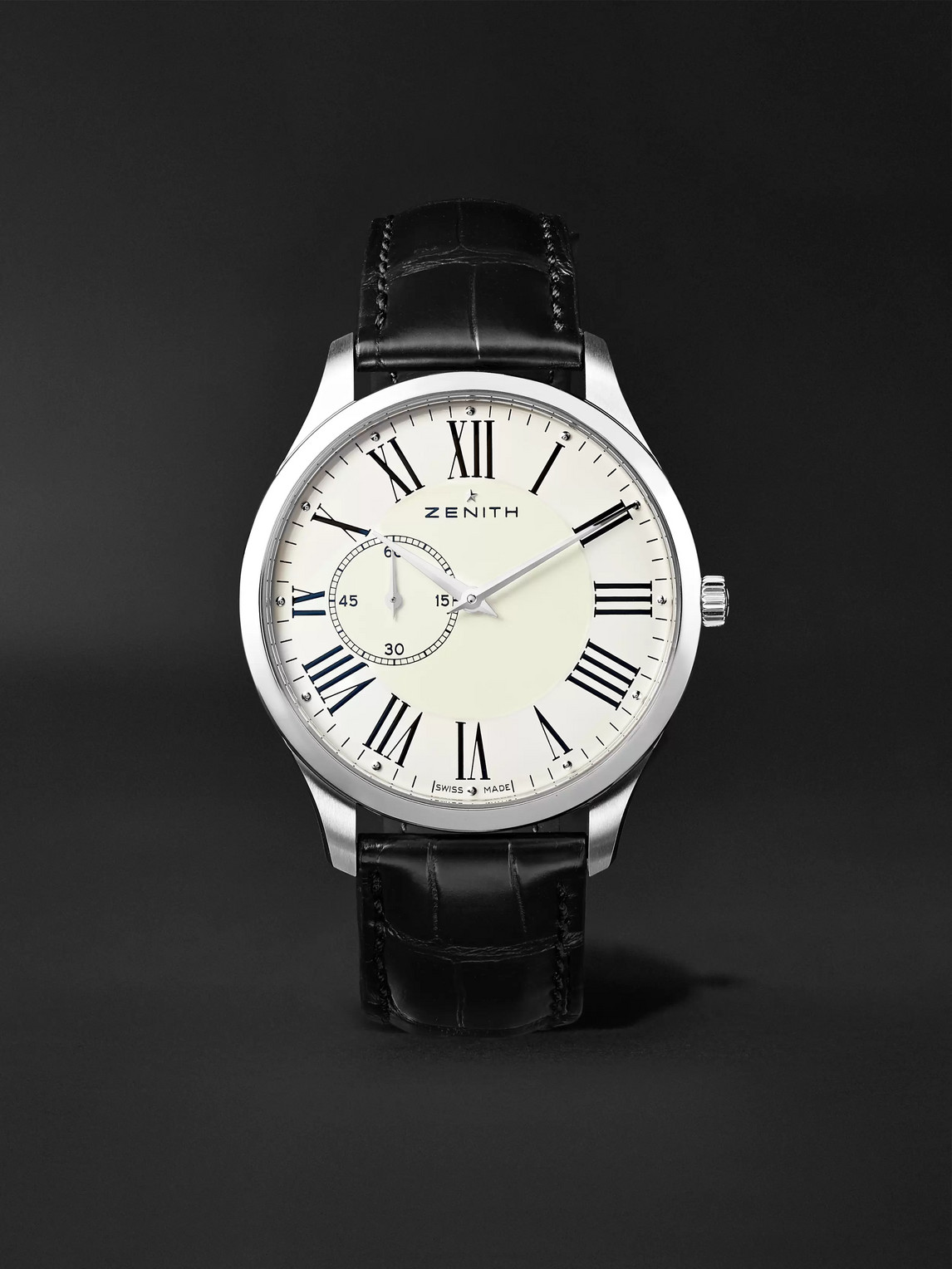 Zenith Elite Ultra-thin Roman Dial 40mm Stainless Steel And Alligator Watch, Ref. No. 03.2010.681/11.c493 In White