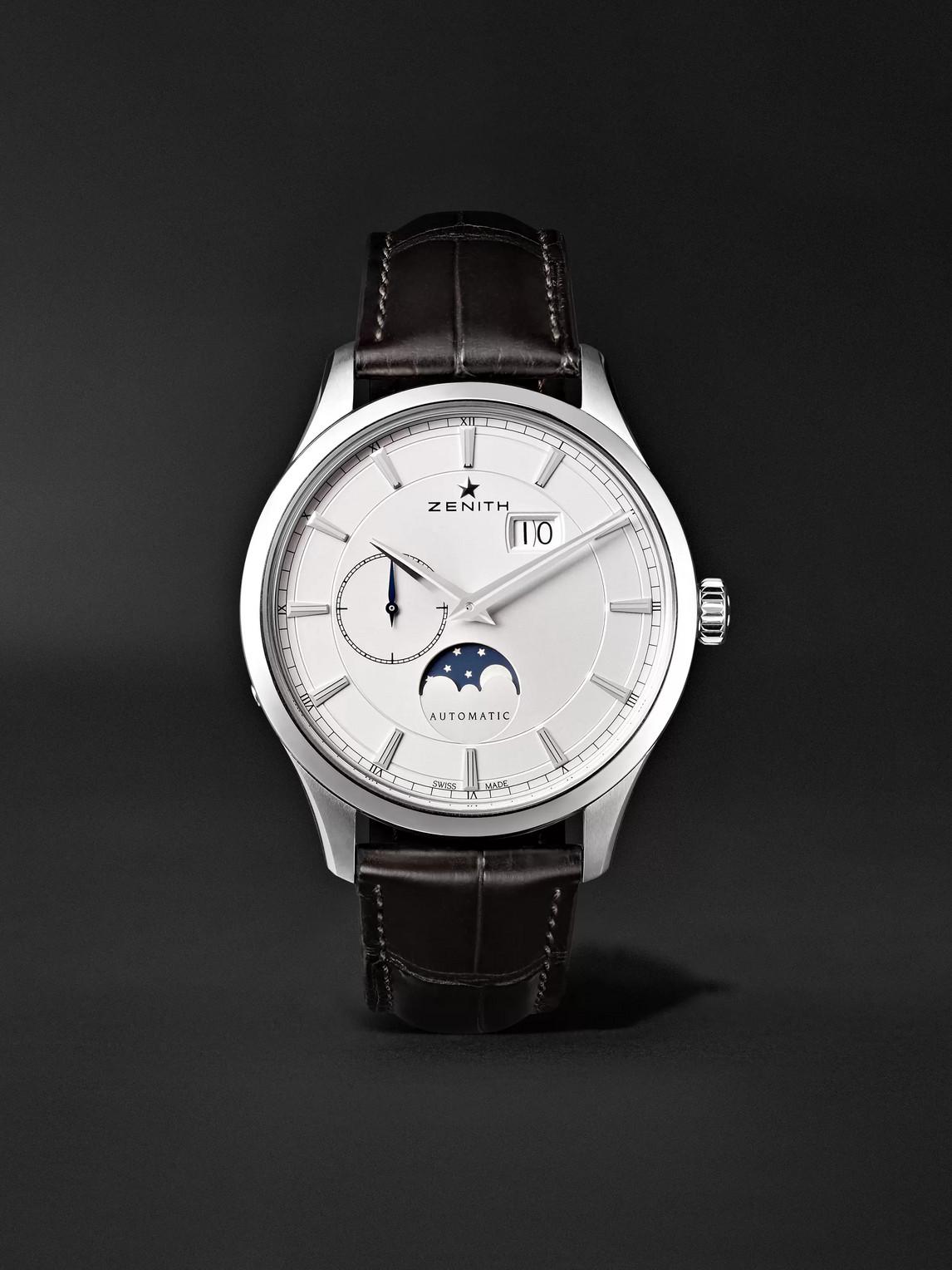 Zenith Elite Moonphase 40mm Stainless Steel And Alligator Watch, Ref. No. 03.2143.691/01.c498 In White