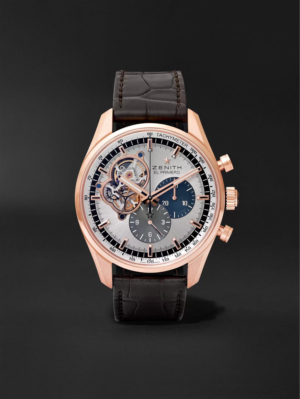 Zenith El Primero Chronomaster 42mm 1969 Rose Gold And Alligator Watch, Ref. No. 18.2040.4061/69.c494 In Silver