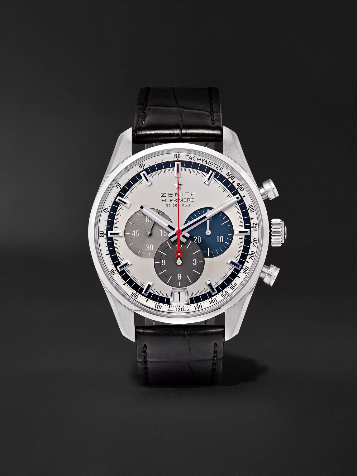 Zenith El Primero Automatic 42mm Stainless Steel And Alligator Watch, Ref. No. 03.2040.400/69.c494 In White
