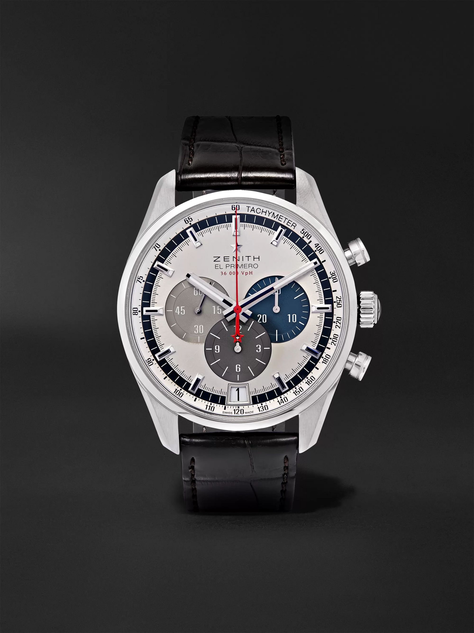 ZENITH El Primero Automatic 42mm Stainless Steel and Alligator Watch, Ref. No. 03.2040.400/69.C494