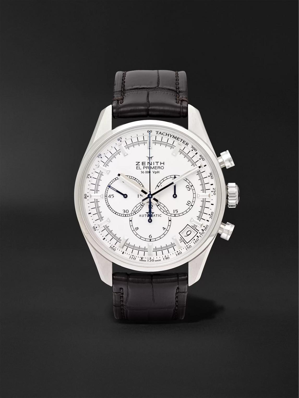 Zenith El Primero 42mm Stainless Steel And Alligator Watch, Ref. No. 03.2080.400/01.c494 In White