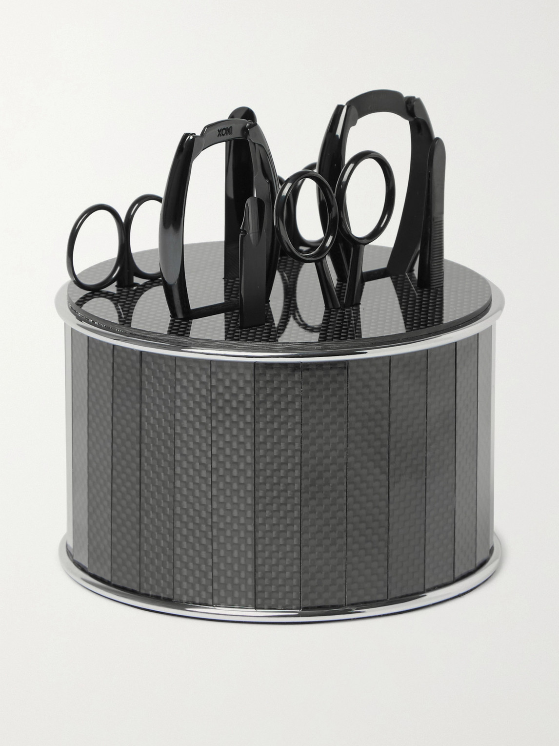 Bamford Grooming Department Stainless Steel And Carbon Fibre Manicure Set In Black