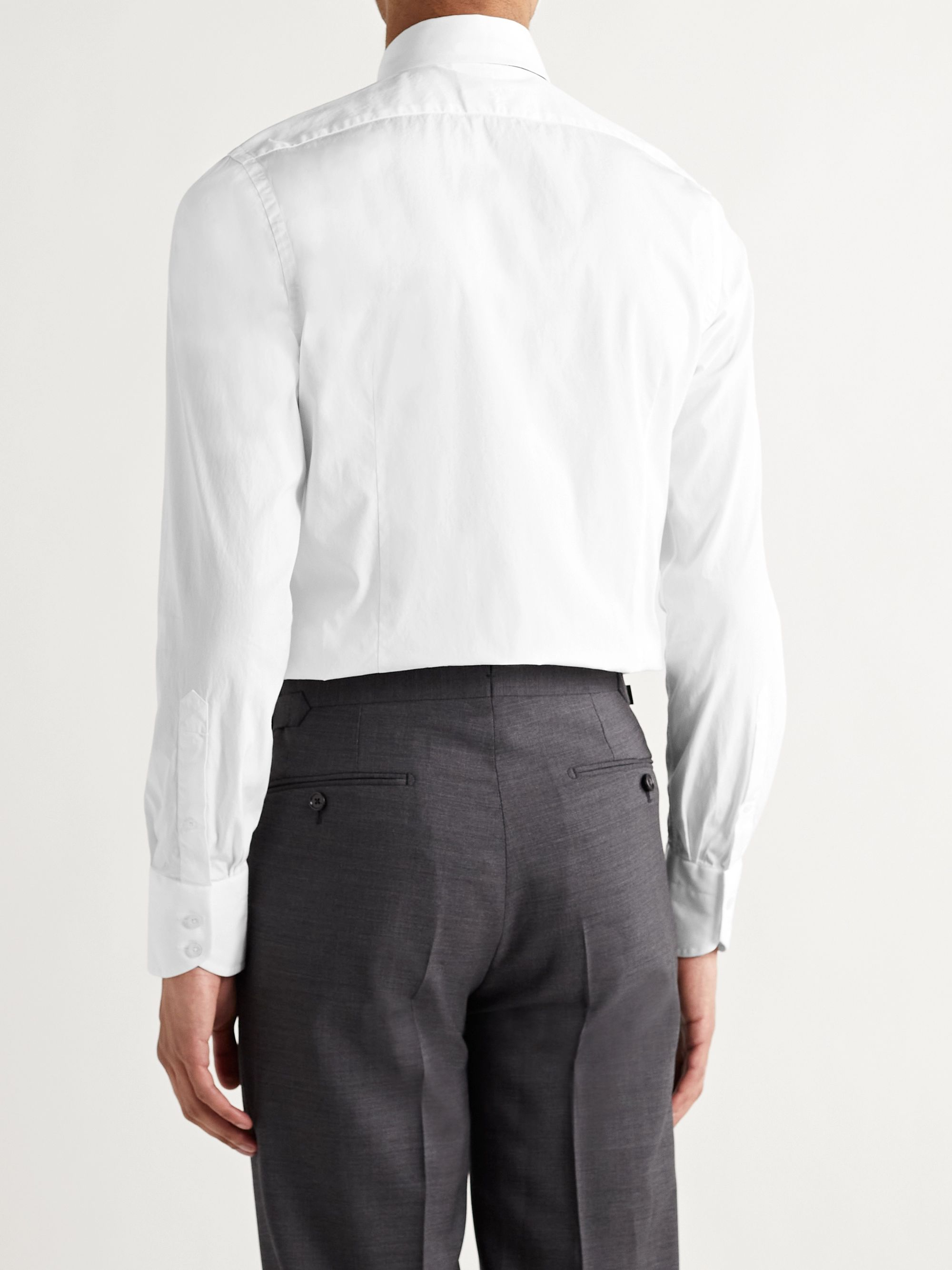 TOM FORD White Slim-Fit Cutaway-Collar Cotton-Poplin Shirt