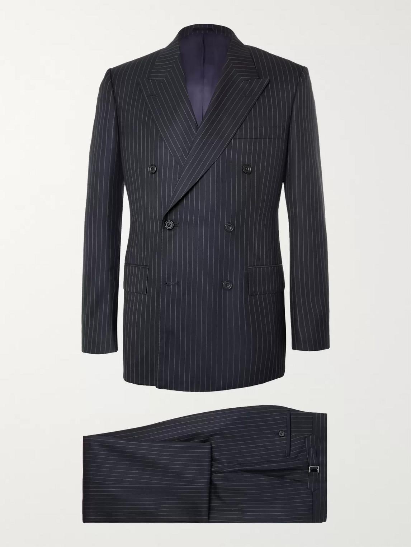 Kingsman Harry's Navy Pinstriped Super 120s Wool Suit In Blue