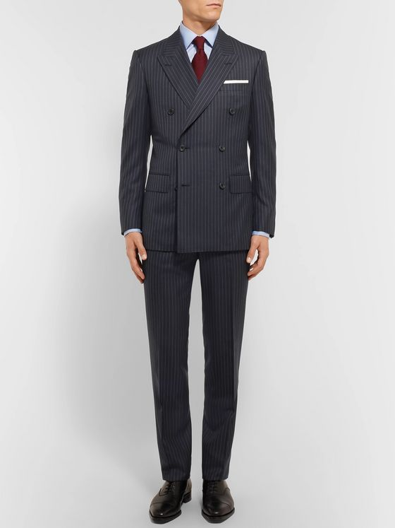 Kingsman Harry's Navy Pinstriped Super 120s Wool Suit