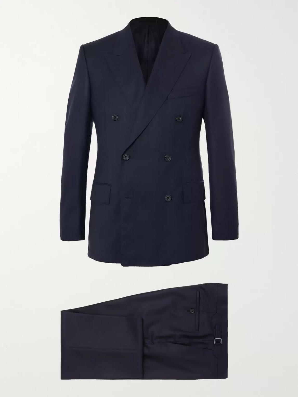 Kingsman Harry's Navy Super 120s Wool Suit In Blue