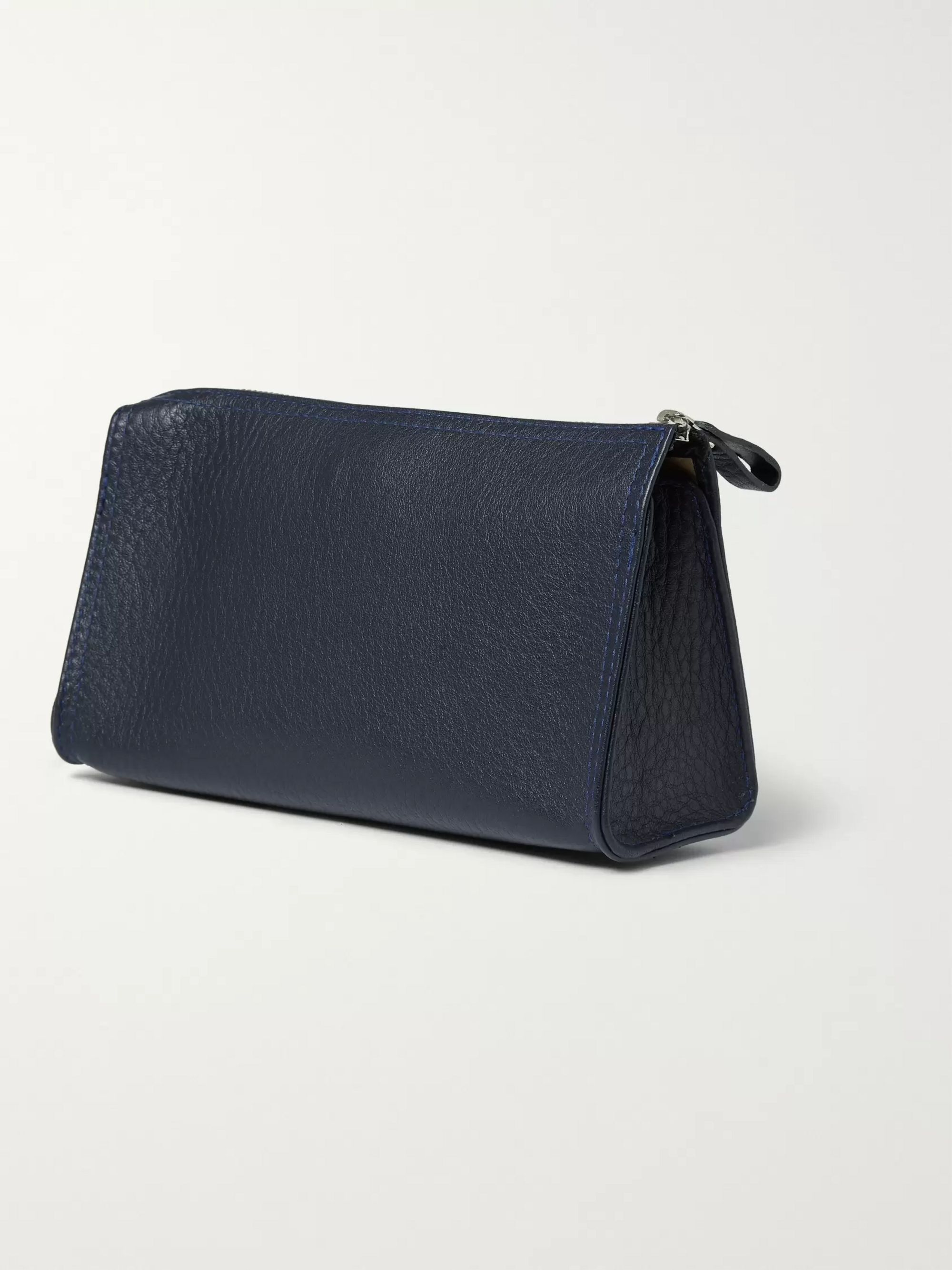 D R Harris Grained-Leather Wash Bag