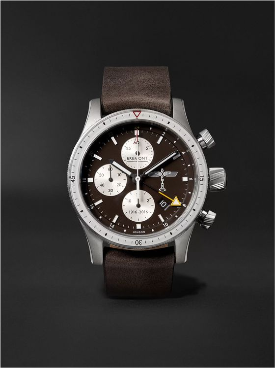 BREMONT Boeing 100 Automatic GMT Chronograph 43mm Titanium and Leather Watch, Ref. No. BB100/R