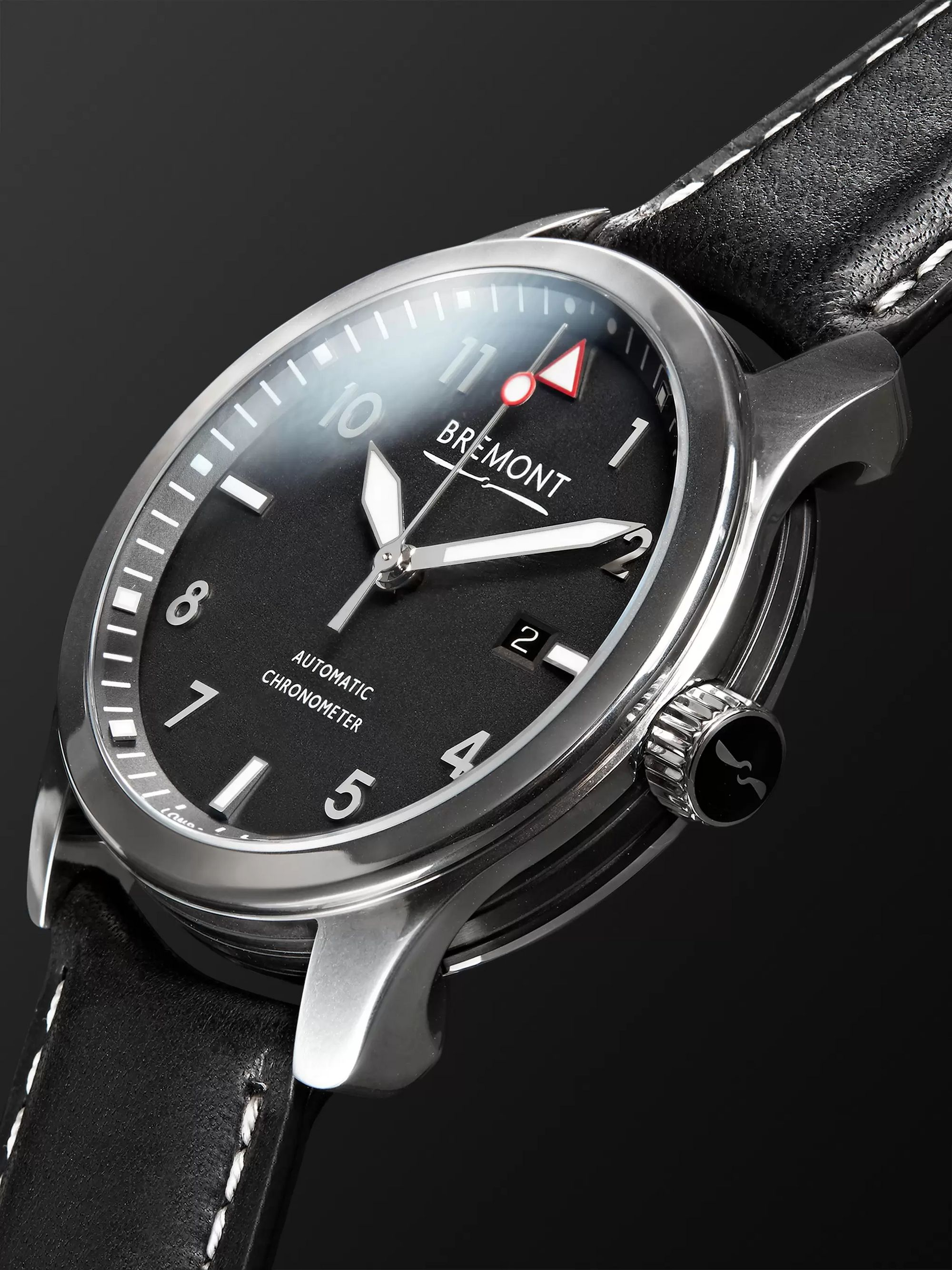 Bremont MBIII/BZS Automatic 43mm Stainless Steel and Leather Watch