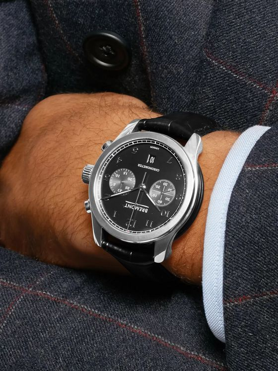 BREMONT ALT1-C Polished Black Automatic Chronograph 43mm Stainless Steel and Alligator Watch, Ref. No. ALT1-C-P-BK-R-S