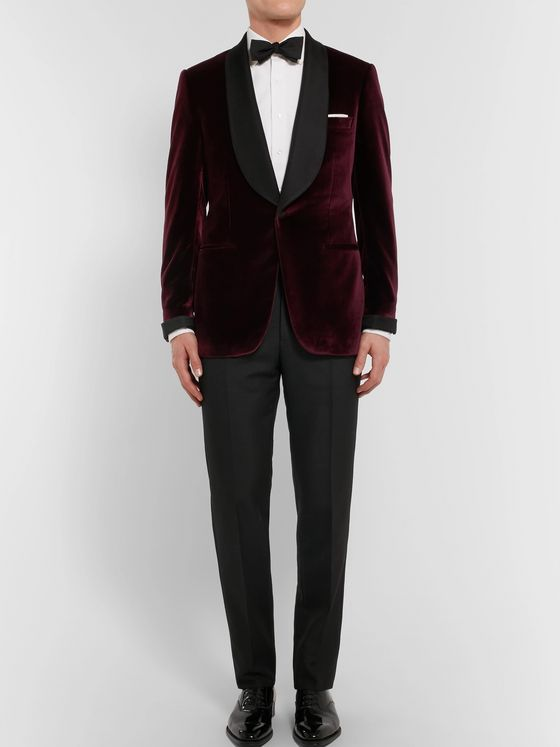 Kingsman Burgundy Slim-Fit Faille-Trimmed Velvet Tuxedo Jacket