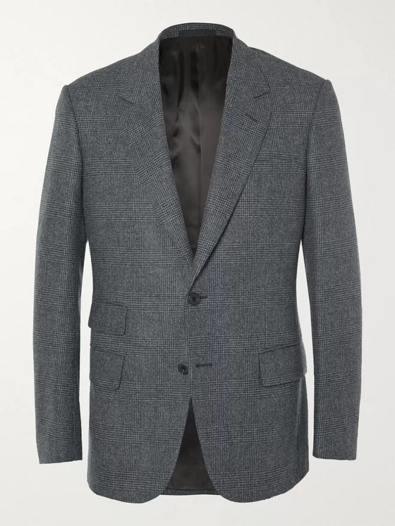 Kingsman Grey Slim-Fit Prince of Wales Checked Wool Blazer