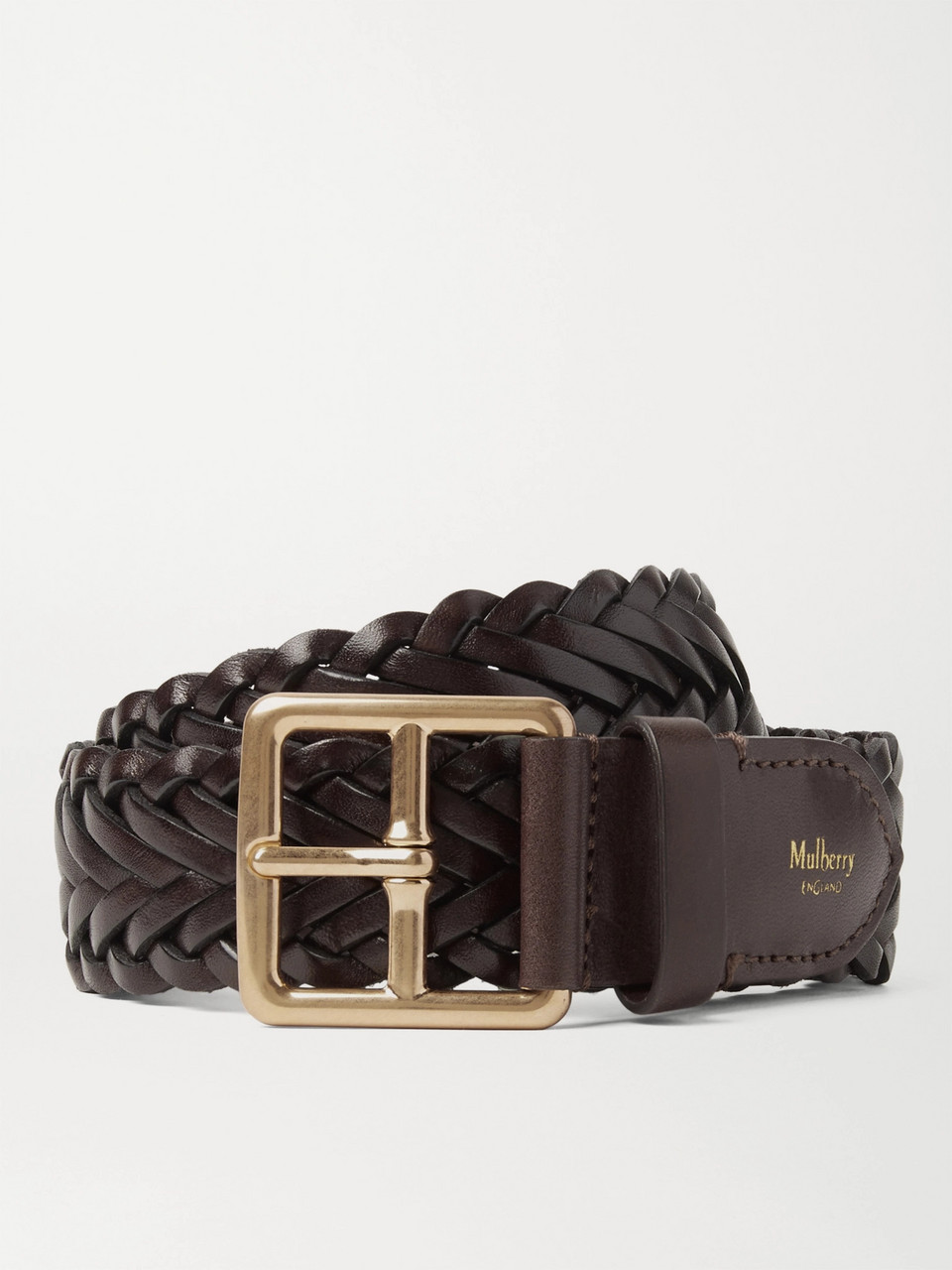 Mulberry 4cm Brown Woven Leather Belt