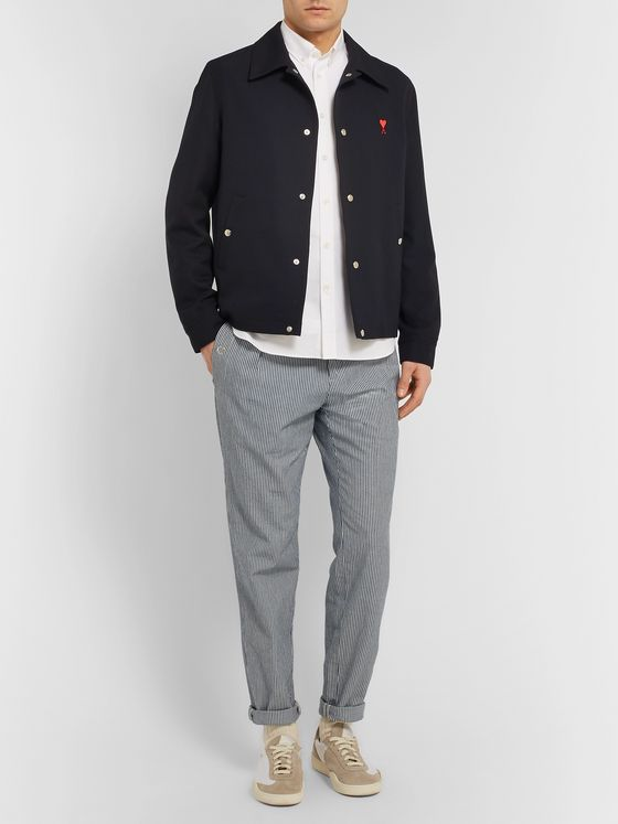 Maison Kitsuné Slim-Fit Button-Down Collar Logo-Appliquéd Cotton Oxford Shirt