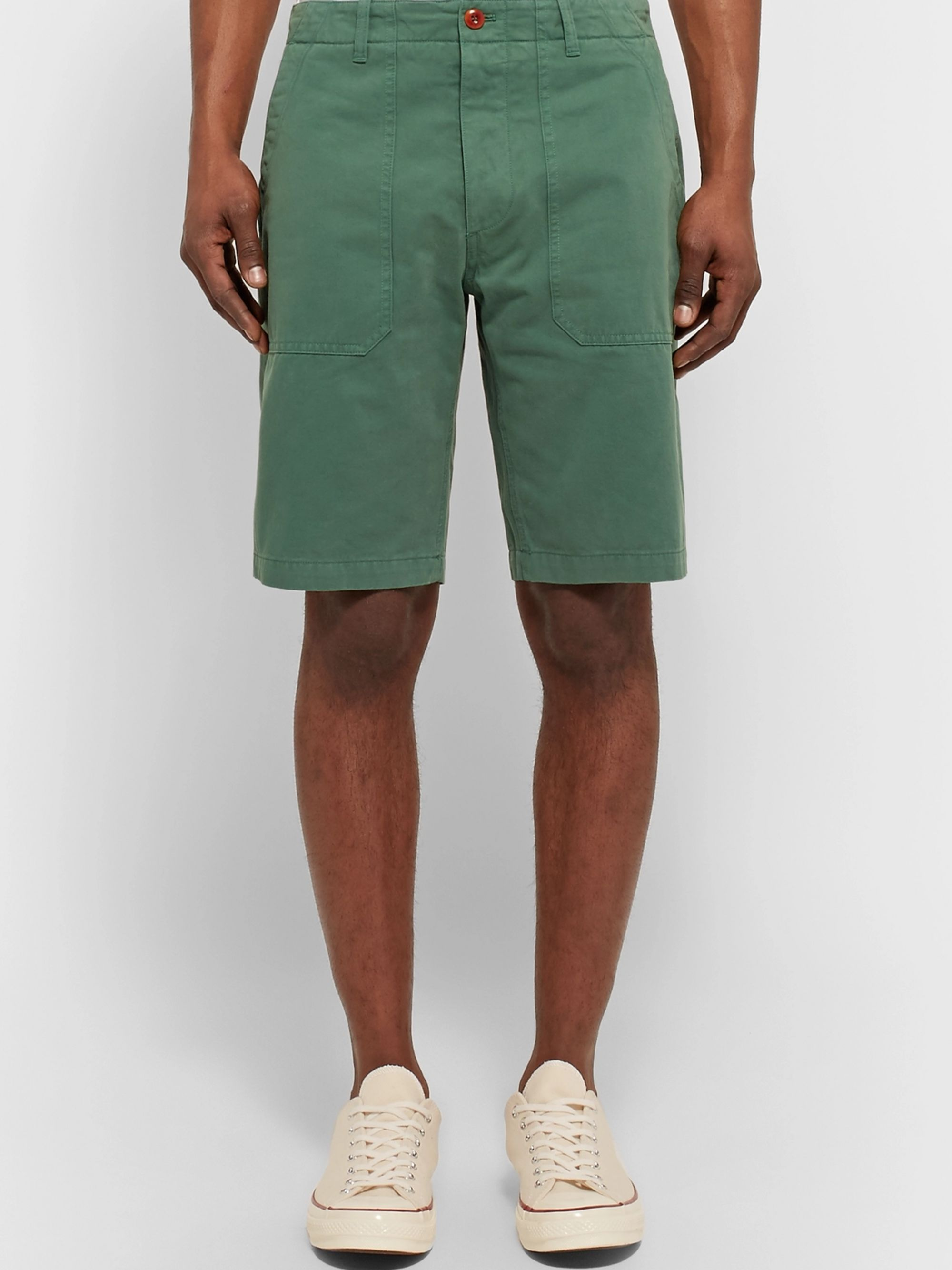 The Workers Club Garment-Dyed Cotton-Twill Chino Shorts