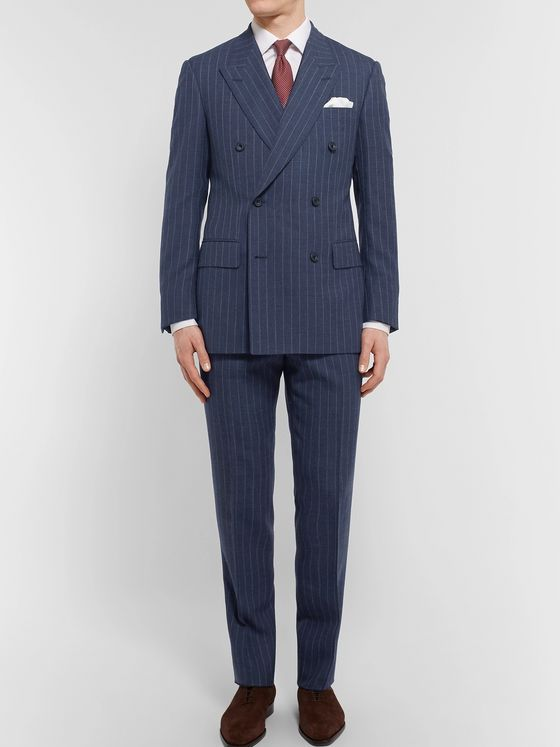 Kingsman Harry's Blue Pinstriped Wool Suit Trousers