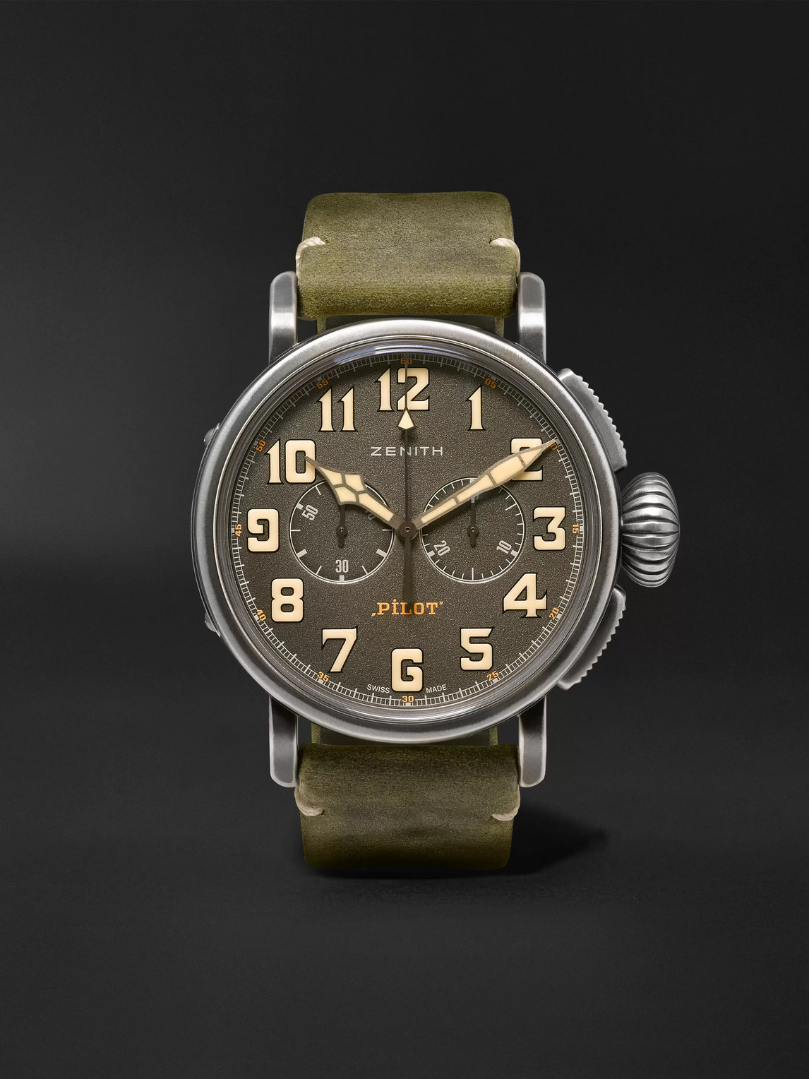 Zenith Heritage Pilot Ton-up 45mm Stainless Steel And Nubuck Watch, Ref. No. 11.2430.4069/21.c773 In Green